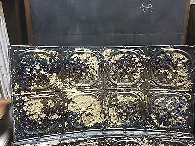 GORGEOUS antique VICTORIAN tin ceiling pressed FLEur de lis pattern 24.75 x 48""