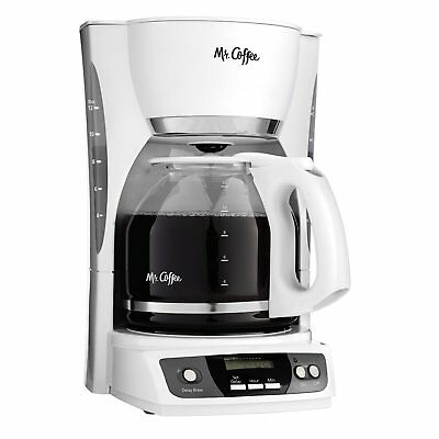 Mr. Coffee CGX20 Digital 12 Cup Programmable Coffeemaker Machine Maker, White