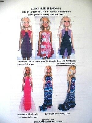 """NG Creations Sewing Pattern #6  fits 28"""" Best Fashion Friend Barbie Doll GOWNS"""