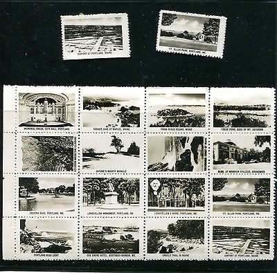 Vintage Poster Stamp Label set of 18 PORTLAND MAINE b&w photo small tourism