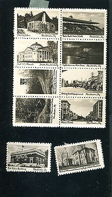 Vintage Poster Stamp Label set of 10 HENDERSON KY small B&W photo views tourism