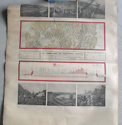RARE 1905 Panama Canal Proposed Map Photographs Wall Chart LOOK