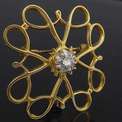 Stylized Round Floral AWARD 10K GOLD DIAMOND DRESS BROOCH solid yellow estate