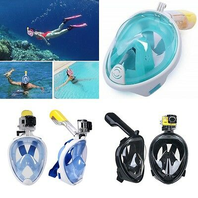 Adult Swimming Full Face Mask Surface Diving Snorkel Scuba For Gopro Hero Camera