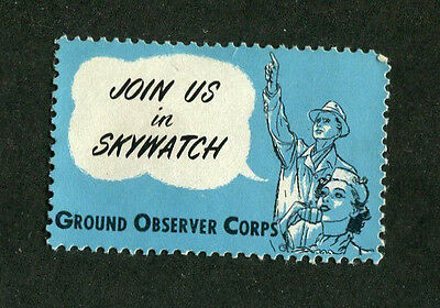 Vintage Poster Stamp Label WW2 GROUND OBSERVER CORPS Skywatch homefront