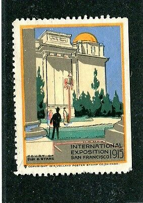 Vintage Poster Stamp Label PPIE 1915 Court Sun & Stars Pan-Pacific Worlds Fair
