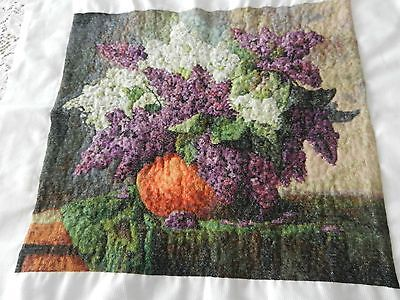 A Bowl of Lilacs Counted Cross Stitch - Finished - Handmade