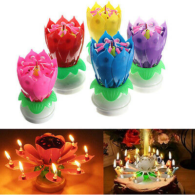 Rotating Musical Lotus Flower Candle Candle Lights FOR Happy Birthday Party