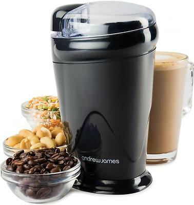 Andrew James Black Electric Coffee Bean Nut Spice Grinder Mill 150 Watt Latte