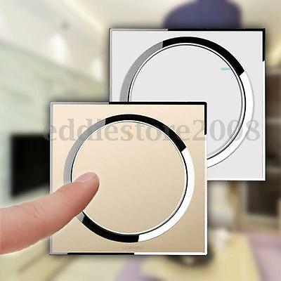 Crystal Glass Panel Light Touch Screen Wall Switch LED 1 Gang 1 Way White Gold