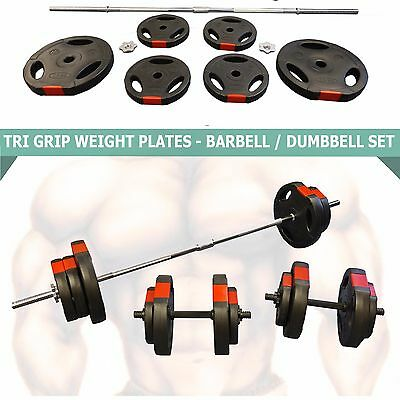 60kg Barbell Dumbbell Set Tri Weight Plates Weights Training - Spinlock Collars