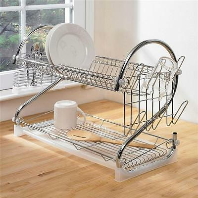 2 Tier Dish Drainer Stainless Steel Chrome Kitchen Utensils Glass Plate Rack