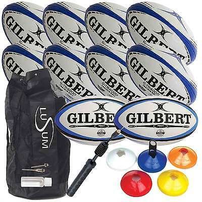 Gilbert Rugby Ball Coaching Pack Plus Bag Pump and Cones