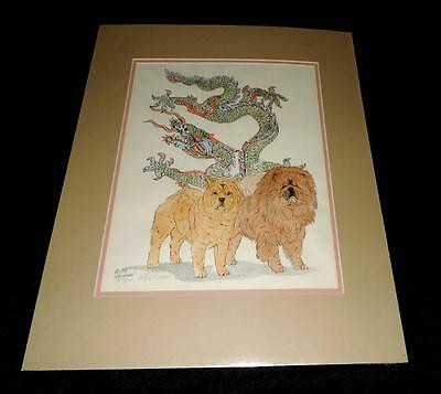 "Chow Chow Smooth & Rough with Dragon 20"" x 16"" Matted B.Hickman Print # 3/100"