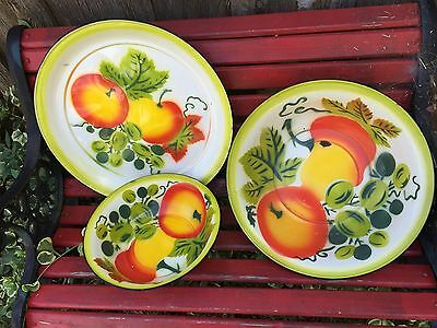 3 Piece Vintage Fruit Enamelware Granite Bowls & Large Platter