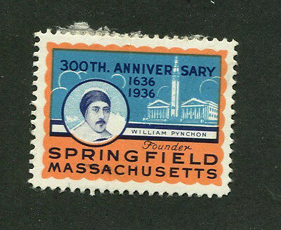 Vintage Poster Stamp Label SPRINGFIELD MA 300th Anniversary 1936 William Pynchon