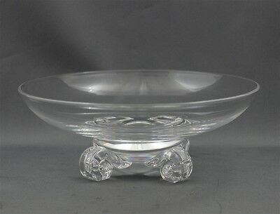 Vintage Steuben Art Glass Crystal Footed Bowl Applied Feet Mint Condition Signed