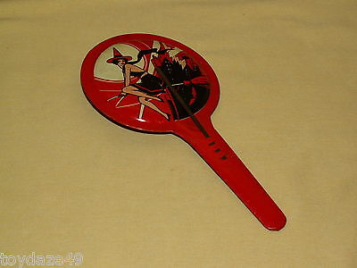 Halloween Noise Maker Vintage USA Witch Broom Over City Bat Tin Wood As Is Sexy