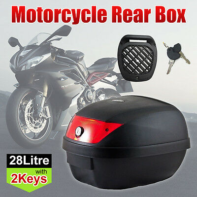 Black 28L Motorcycle Scooter Topbox Rear Storage Luggage Top Tail Box Two Keys