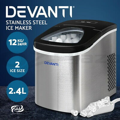 DEVANTi 2.4L Portable Ice Cube Maker Machine Stainless Steel Benchtop Counter