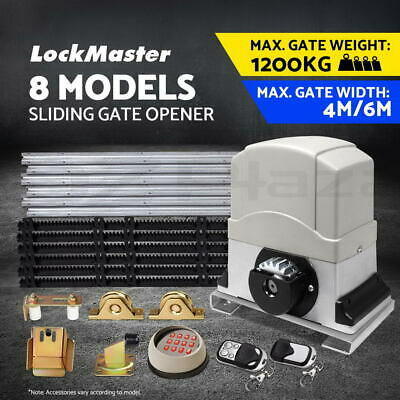 LockMaster Electric Sliding Gate Opener 1200KG Auto Keypad Remote Hardware Kit