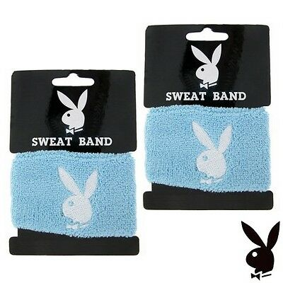 2 Playboy Wristbands White Bunny Logo Blue Terrycloth Wrist Sweat Bands Set RARE