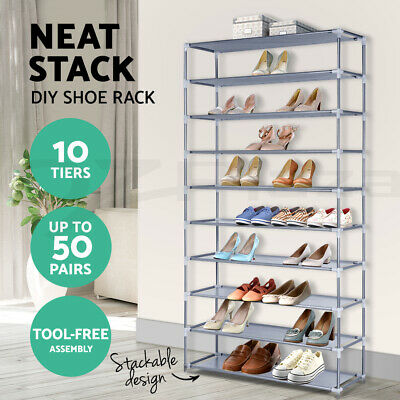 50 Pair 10 Tier Shoe Rack Stackable Storage Holder Metal Fabric Steel Cabinet