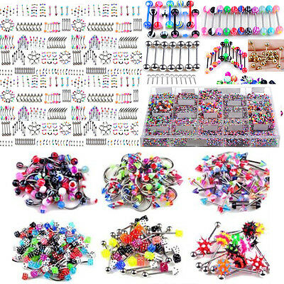 105pcs Tongue Lip  Belly Navel Ring Women Stainless Steel Piercing Body Jewelry