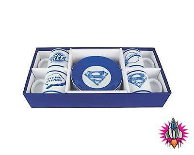 Dc Comics Superman Espresso Coffee Cups And Saucers Set Of 4 In Presentation Box