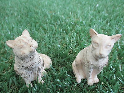 Cat Statues, Set of 2, Ivory & Gold, 60mm