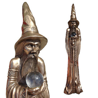 Tall Merlin The Wizard Statue by Design Clinic in Bronze Finish 49cm High NEW IN