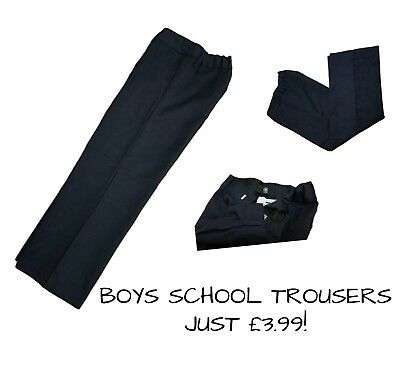 Boys Kids School Trousers Navy Blue Uniform NO ZIP Elasticated Waist 2-6Y