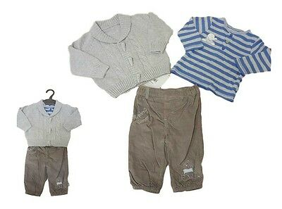 Baby Boys Outfit Set 3 Piece Top Trousers Cardigan Winter Ex Mother-care NB-9m