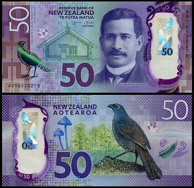 NEW ZEALAND 50 Dollars 2016 Polymer UNC Pick New