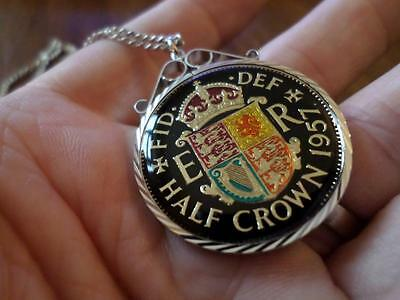 VINTAGE ENAMELLED HALF CROWN COIN 1957 PENDANT & NECKLACE. 60th BIRTHDAY PRESENT