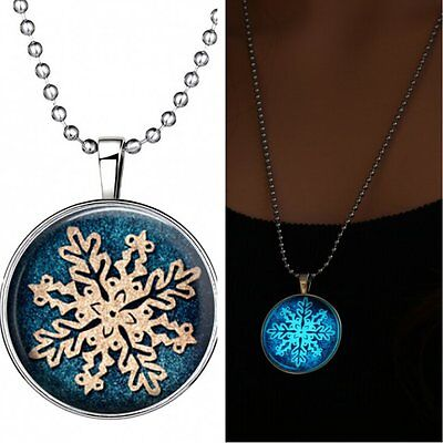 Women Christmas Snowflake Glow in the Dark Necklace Glowing Pendant Gem Time New