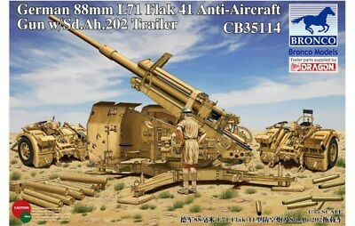 Bronco Cb35114 - 1/35 German 8.8cm L71 Flak41 Anti-Aircraft Gun W/ Sdah 202