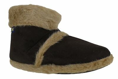Mens Brown Coolers Furry Warm Lined Ankle Boot Snug Slippers UK Sizes 6 to 11