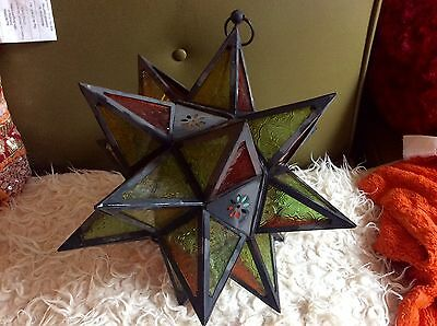 Moravian stained Glass Star hanging light lamp