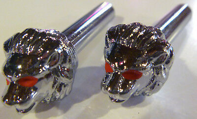 Lion Head Door Locks Red Eyes Set Of 2 Knobs Chrome Custom Rat Hot Rod Lowrider