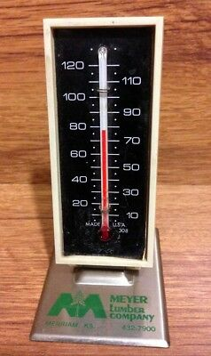 Vintage Meyer Lumber Advertising Desk Thermometer with Metal Base - 1970's