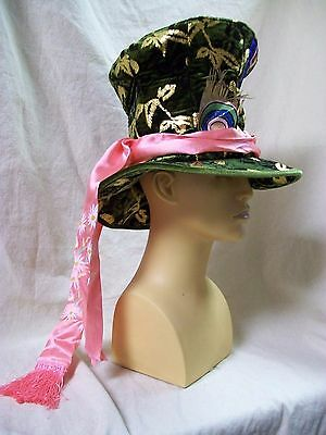 Disney Adult Mad Hatter Top Hat Alice Looking Glass Oversized Fancy Gold Accents