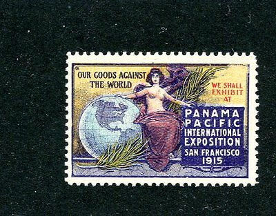 Vintage Poster Stamp PPIE 1915 Worlds Fair Our Goods against the World globe