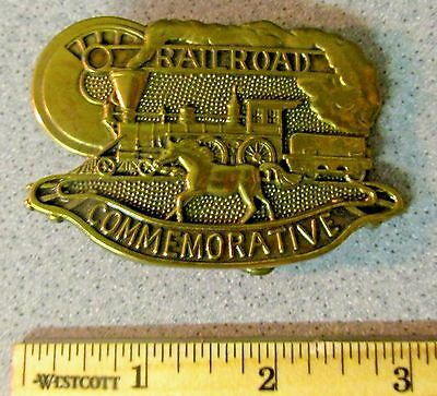 Vintage 1984 Baron BELT BUCKLE RAILROAD TRAIN HORSE #d Solid Brass Commemorative