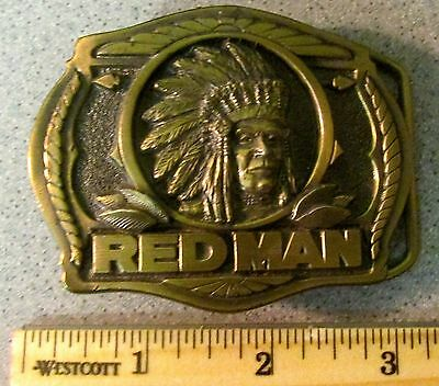 Vintage 1988 RED MAN BELT BUCKLE Chewing Tobacco embossed Chief