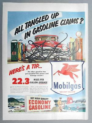 10 BY 14 Original 1953 Mobil Ad ALL TNAGLED UP IN GASONLINE CLAIMS? HERE'S A TIP