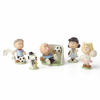 Lenox Peanuts Soccer 5-piece Figurine Set Snoopy Charlie Brown NEW MSRP $250
