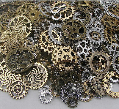 100g Vintage antique Steampunk Watch Parts Pieces gears cogs wheels