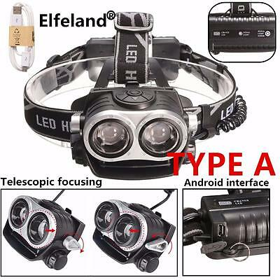 12000LM T6 USB zoomable 2X Lampada frontale LED Android Ricaricabile Torcia