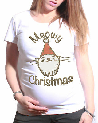 Ladies MATERNITY T-Shirt Meowy Christmas Funny Cat Gift Womens PREGNANCY Top
